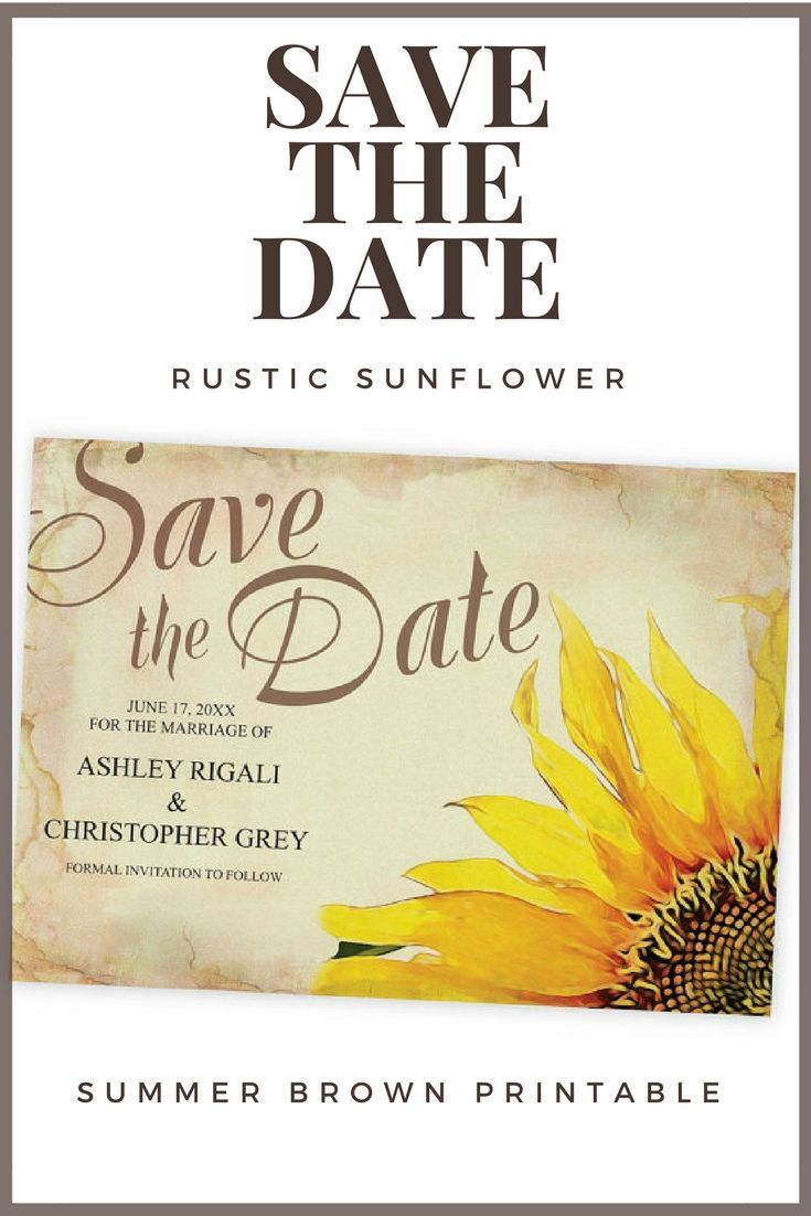 Sunflower Save The Date Card Template, Wedding, Rustic Vintage ...
