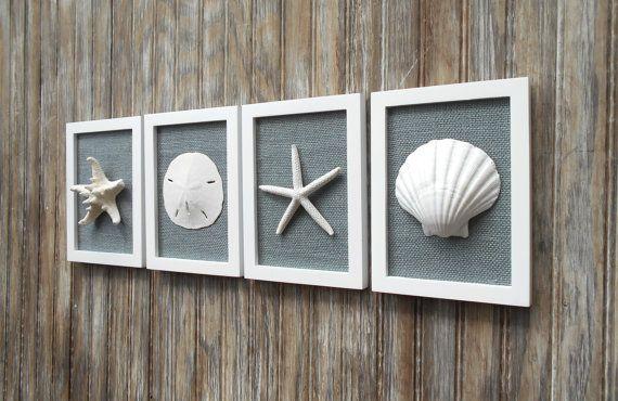 Cottage Chic Set Of Coastal Wall Art Nautical Decor Beach House Wall Decor Seashell Art Beach Decor White With Smoke Grey Burlap Coastal Wall Art Coastal Decorating Beach House Decor