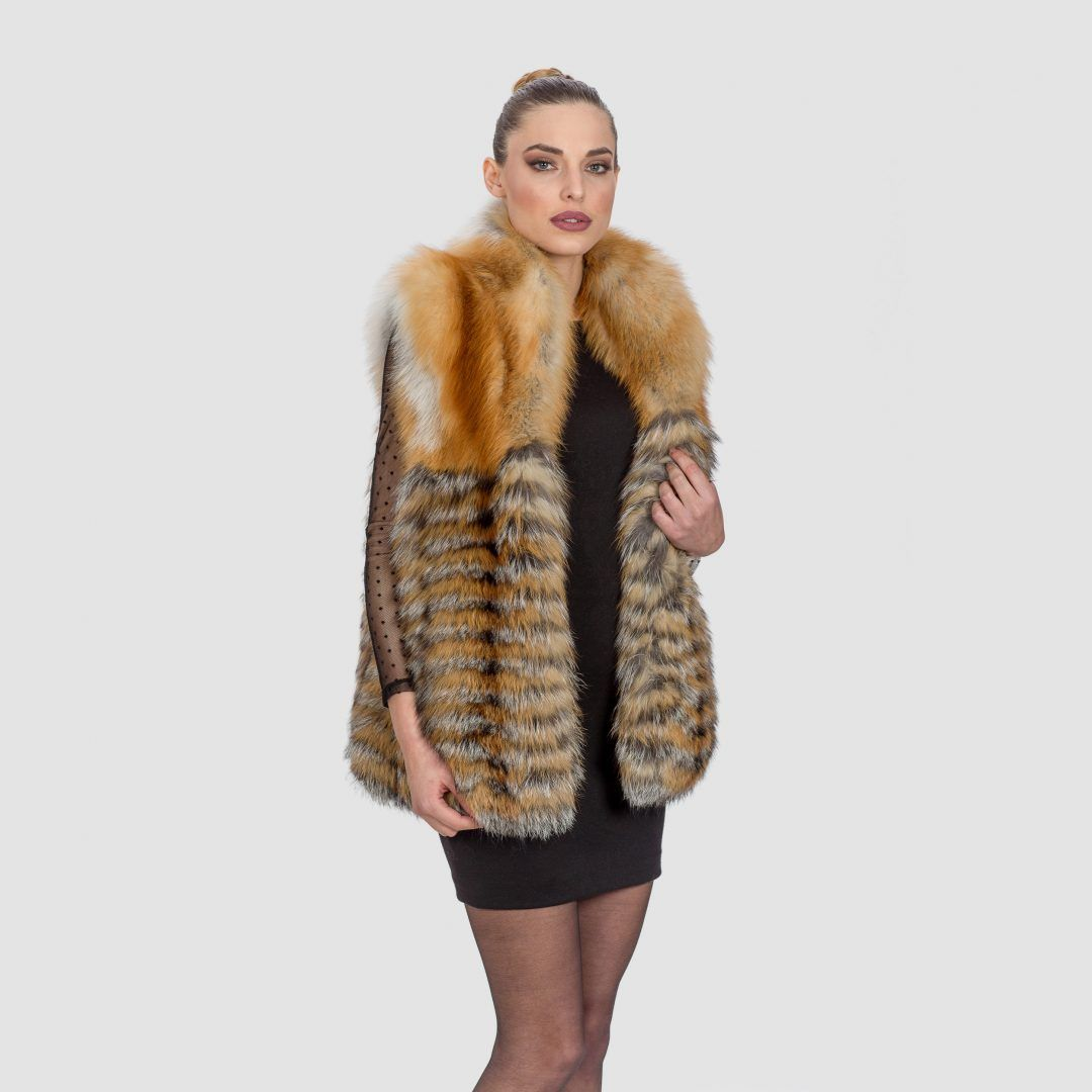 Red Fox Fur Vest . 100% Real Fur Coats and Accessories | Fox fur ...