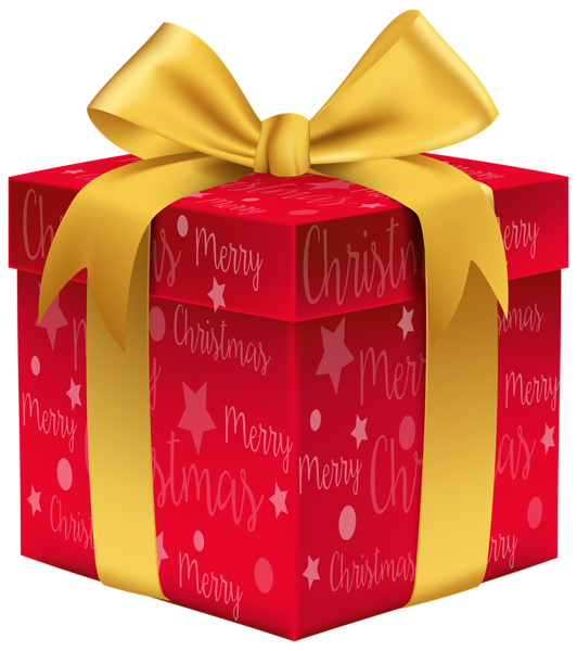 Merry Christmas Red Gift PNG Clip Art Image Free