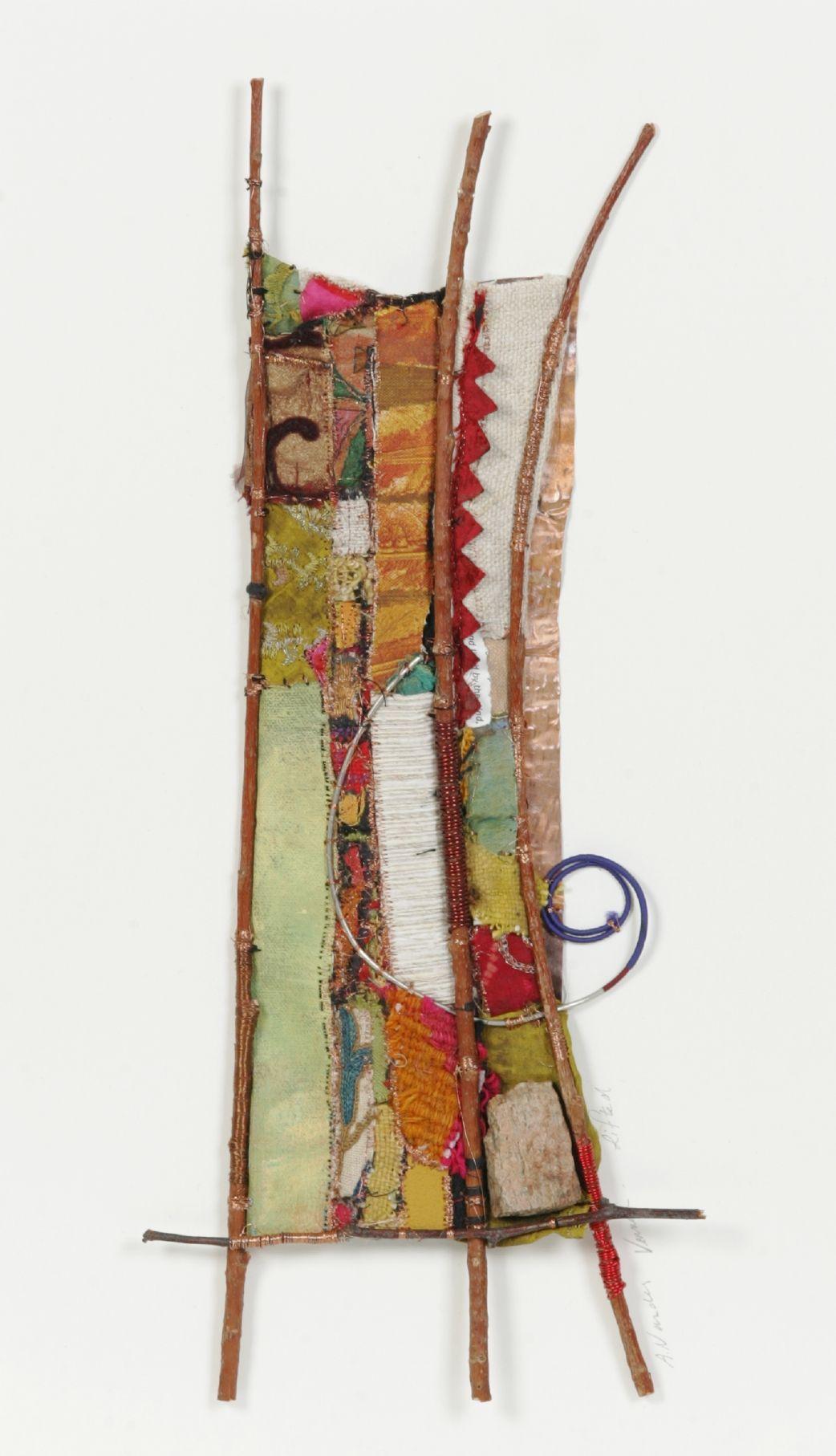 12 X 20; fabric, acrylic paints, stone, copper wire, sticks