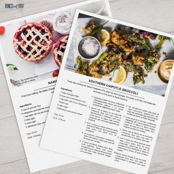 photoshop printable recipe template 8 5x11 instant download