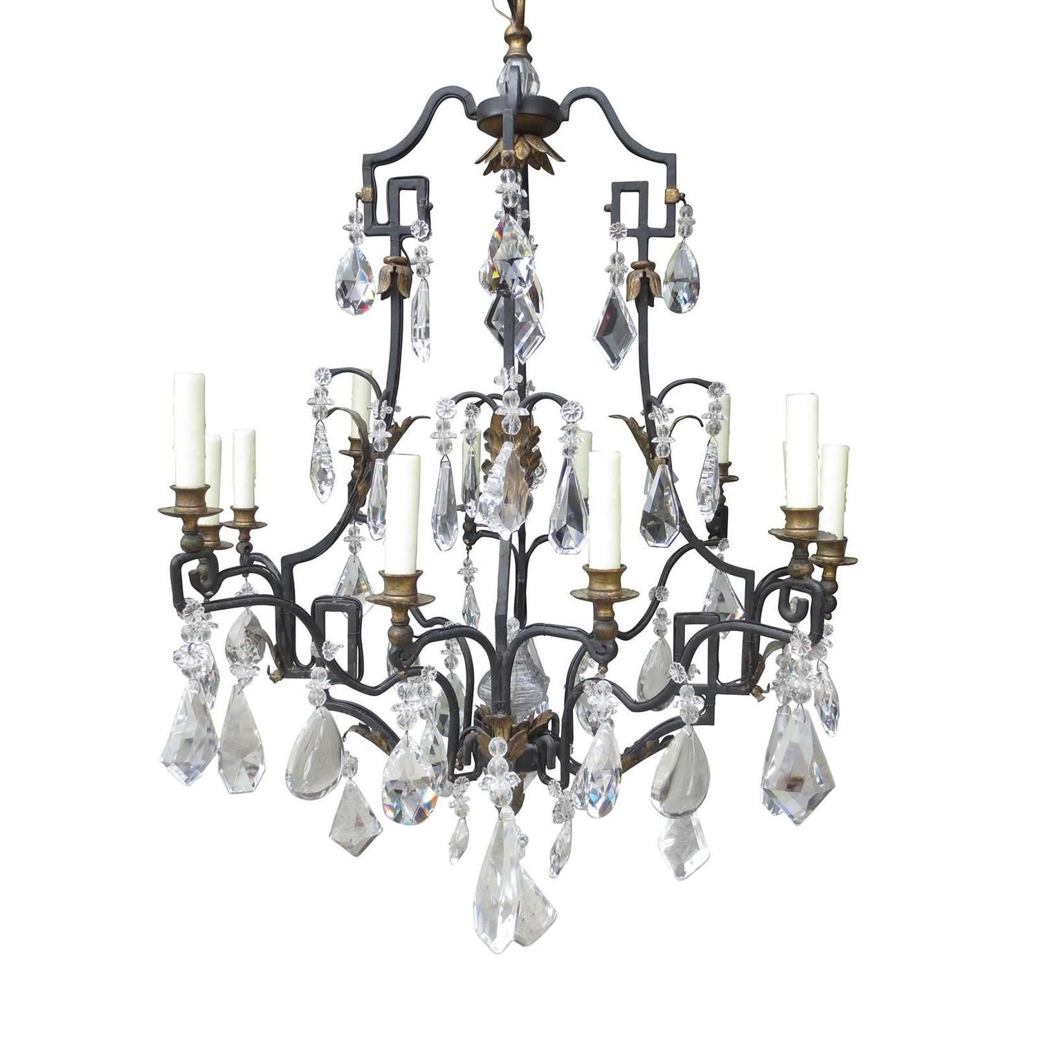 Large th century french iron and crystal chandelier chandeliers