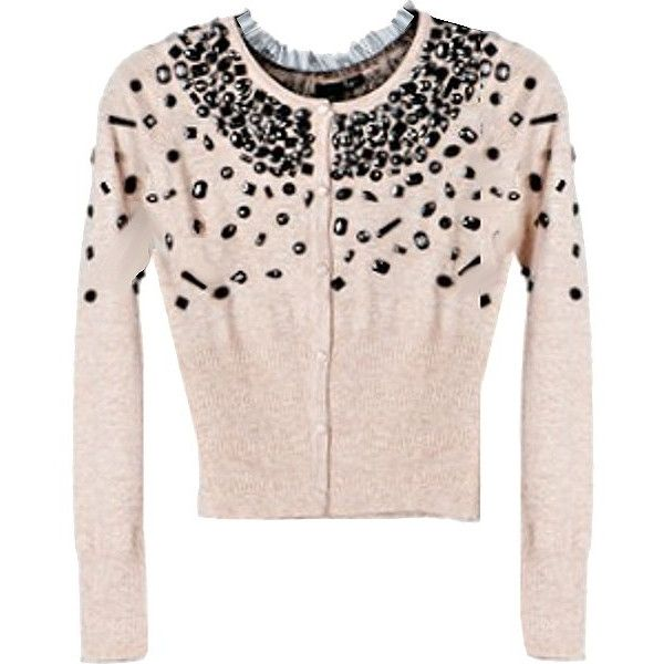 Beaded Ballet Cardigan ($280) ❤ liked on Polyvore featuring tops, cardigans, outerwear, sweaters, ballet cardigan, long pink cardigan, gem top, beaded cardigan and wet look top