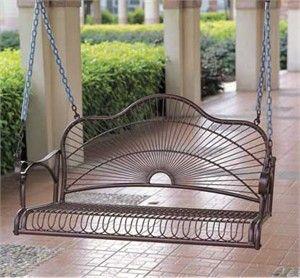 Sun Ray Wrought Iron Porch Swing