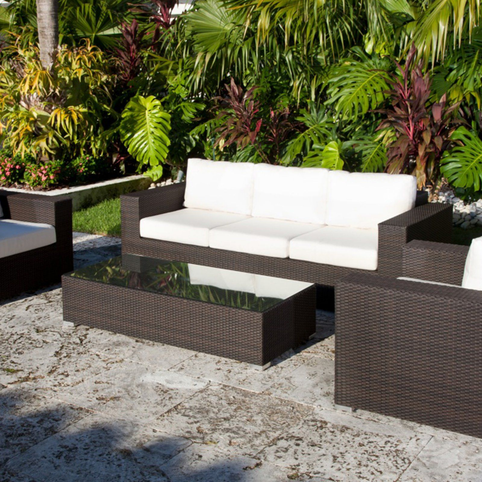 Source Outdoor King Collection All Weather Wicker Conversation Set