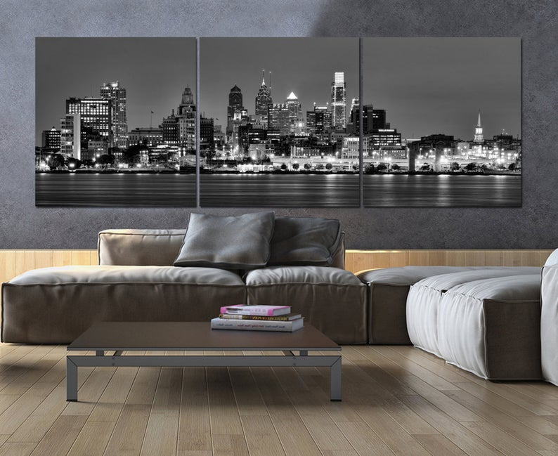 Philadelphia Skyline On Canvas B W Large Wall Art Philadelphia Print Philadelphia Art Philadelphia Photo Philadelphia Canvas Panoramic Philadelphia Skyline White Canvas Art Black And White Canvas
