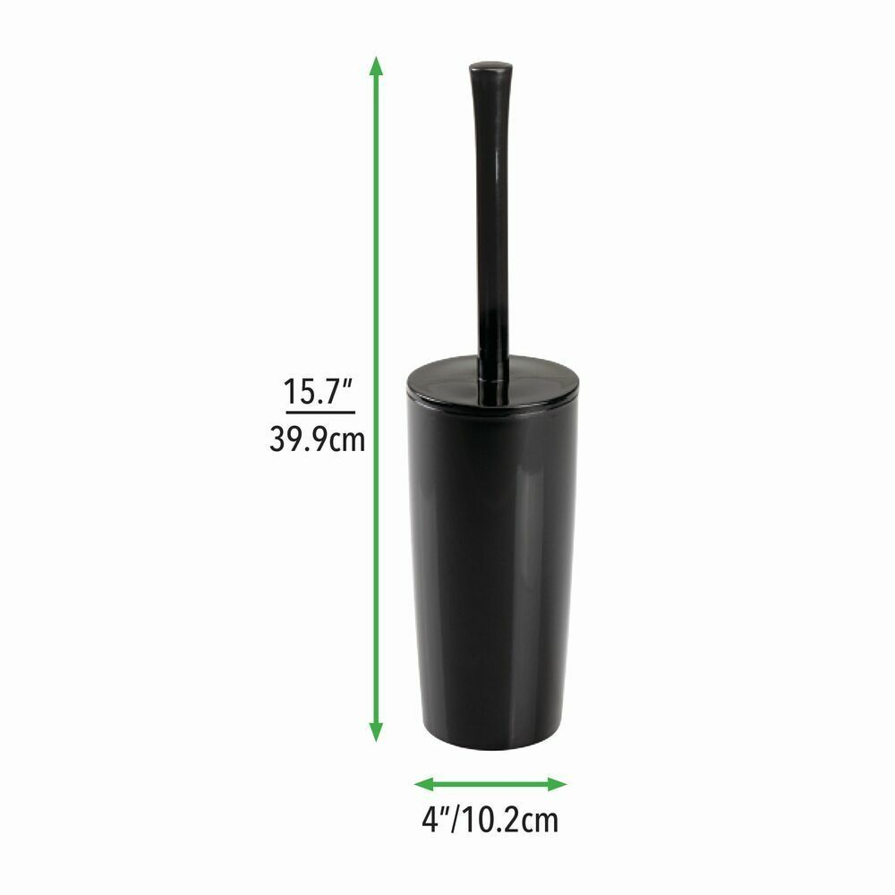 Photo of Slim Compact Plastic Toilet Bowl Brush Holder in Marble, by mDesign
