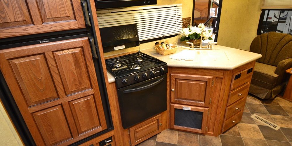 Travel trailer | Kitchen cabinets, Rv stuff, Double wall oven