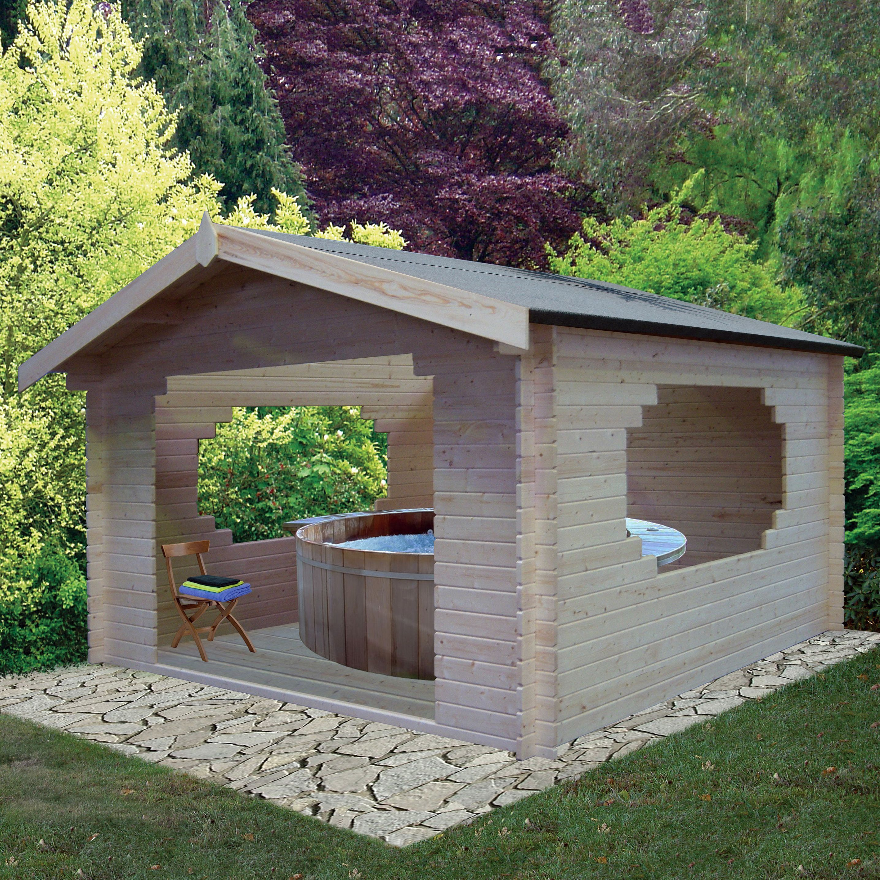 11X11 Bere 28mm Tongue & Groove Timber Log Cabin | Departments | DIY ...