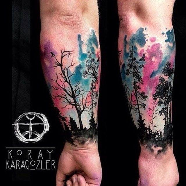 Watercolor Forest Tattoo On Wtist Tattos Tattoos Forest Tattoos