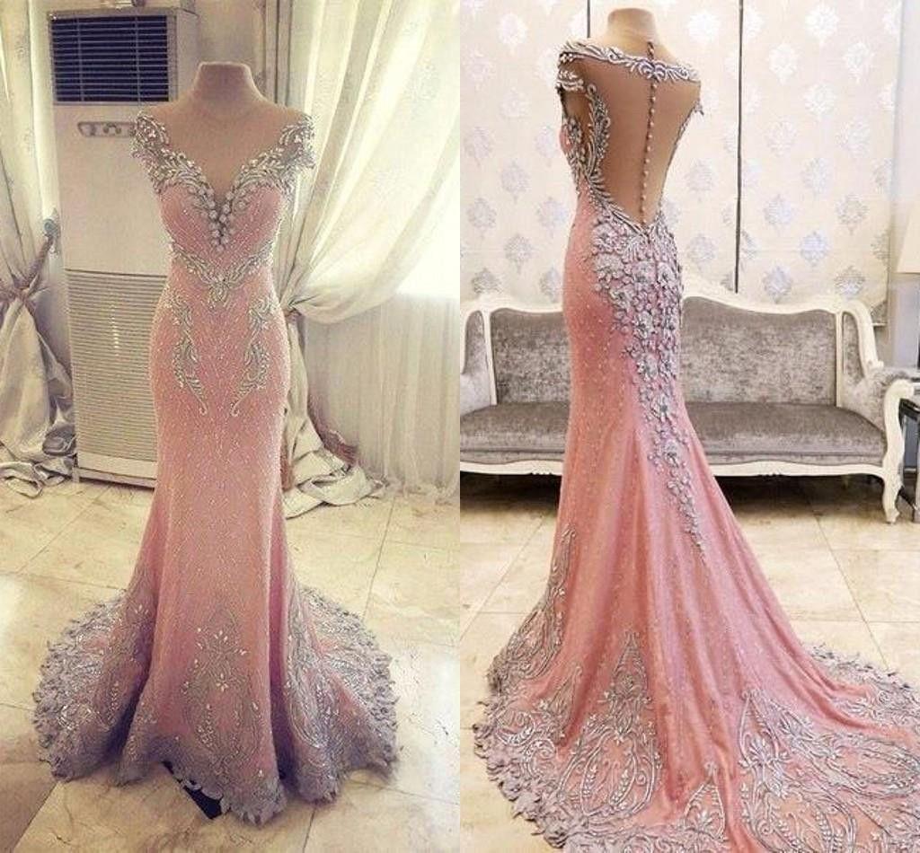 Pink see through lace dress  Elegant Pink See Through Lace Rhinestone Gorgeous Wedding Prom