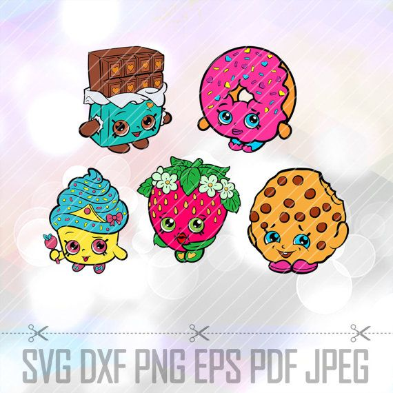 SVG Shopkins Layered Cut Files Cricut Design Silhouette Cameo Party Supply Decorations Strawberry Dlish