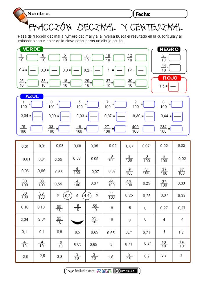 fracciones decimales 01 | mates | Pinterest | Fracciones decimales ...