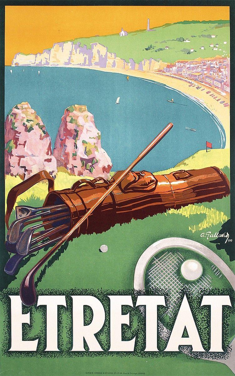 Original 1920s French Beach Travel Poster Etretat Golf Vintage Posters Travel Posters Vintage Travel Posters