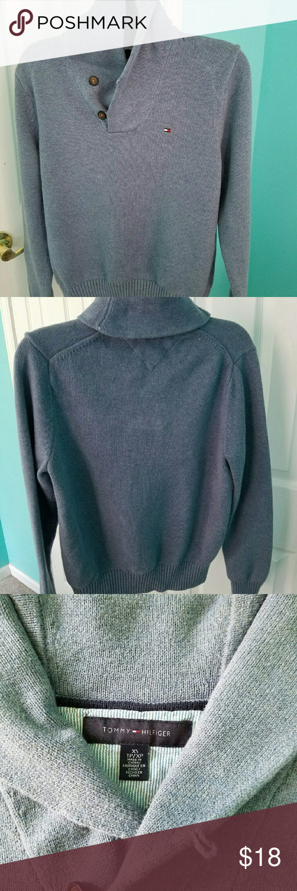 "Tommy Hilfiger Sweater Shawl Collar , Pullover, XS, 100% Cotton, Length 23"", Under arms 19"" Tommy Hilfiger Sweaters"