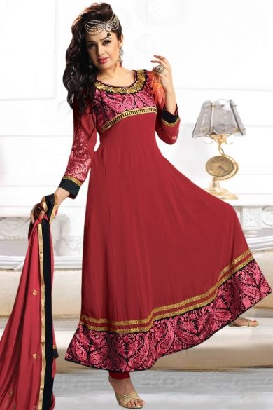 f13a72d1e4 Carnelian Red Faux Georgette Embroidered Party Anarkali Kameez Sku  Code:51-5103SL149049 $ 67.00