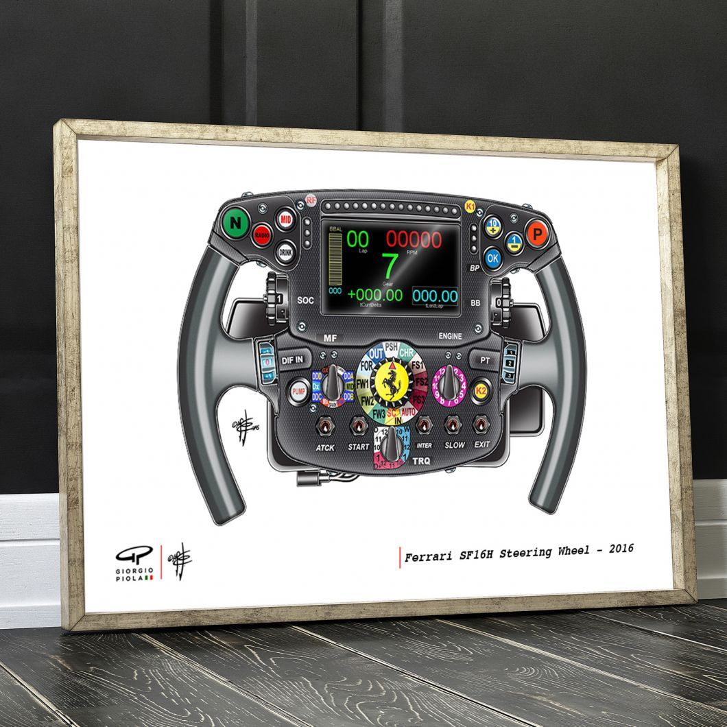 Ferrari Steering Wheel F1 Art Print (With images ...