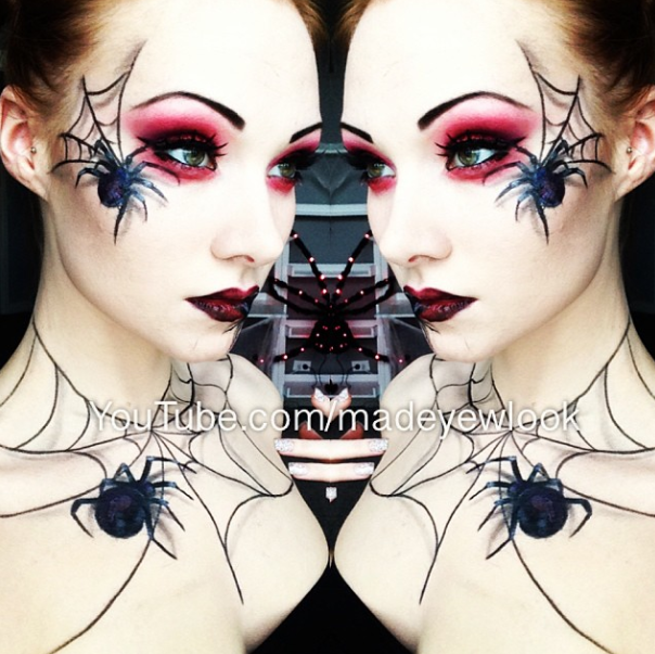 Spider Queen Halloween Makeup! Easy, 3D appearing, spiders, drawn ...
