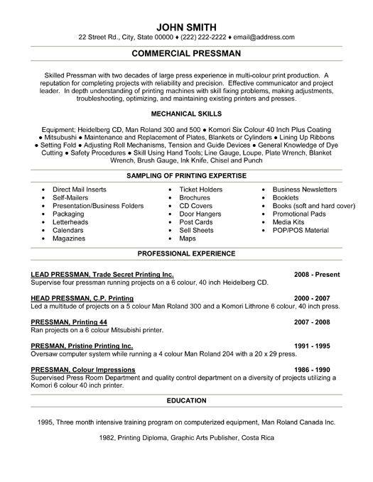 Commercial Pressman Resume Template Premium Resume Samples Example Resume Templates Downloadable Resume Template Resume Template