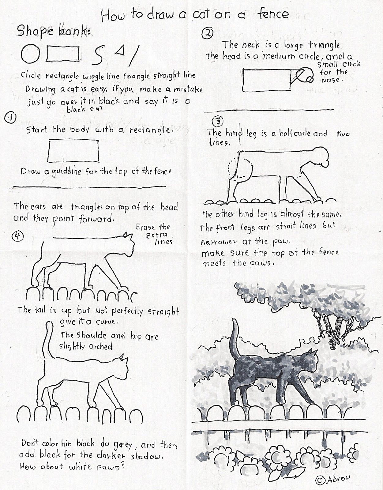 How To Draw A Black Cat On A Fence Worksheet