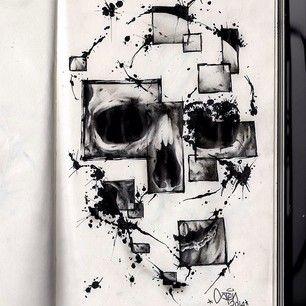 Instagram photo by stengraffiti - Sten 2014 #sten #stenart #stengraffiti #ink #skull #skullart #artcollective #skulltattoo #varese #realisti...