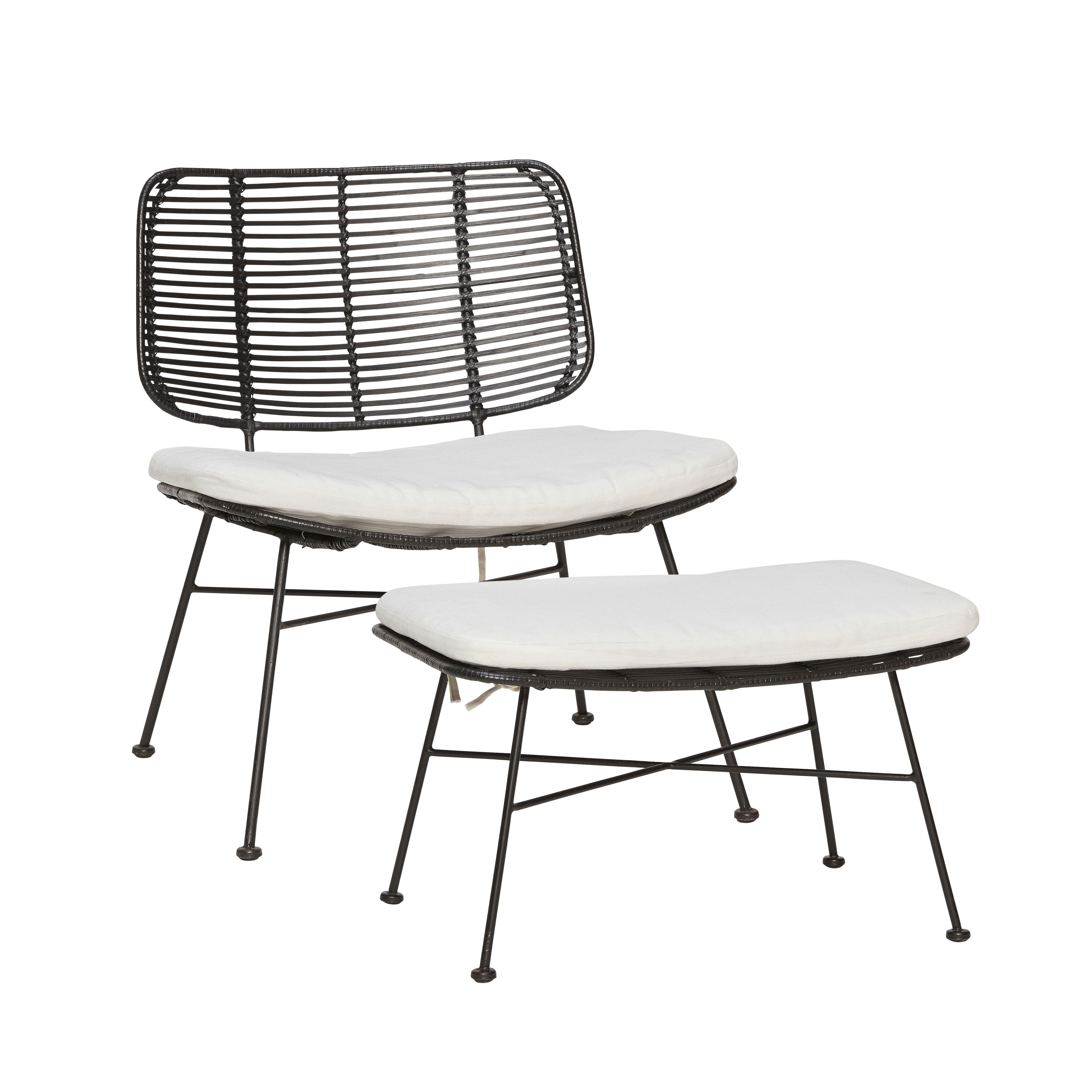 lounge chair w footstool cushion metal legs product number