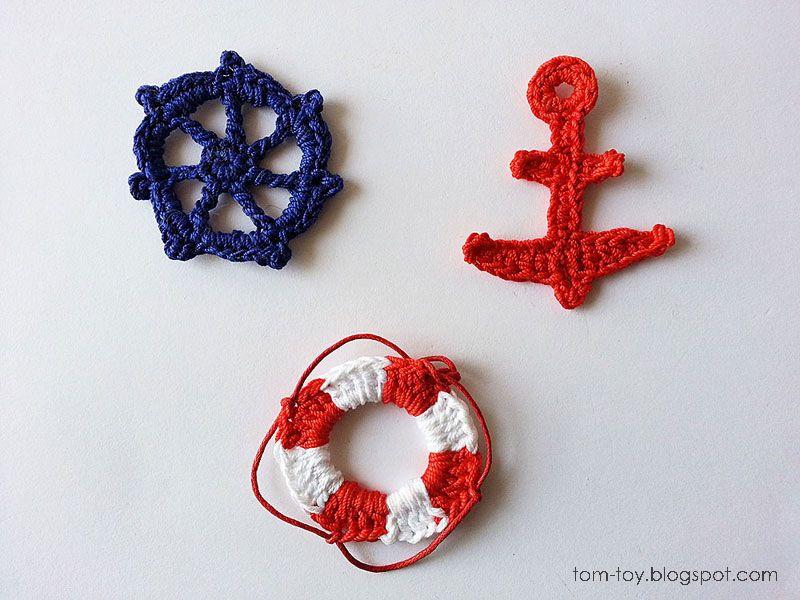 Crochet nautical applique   crochet baby items   Pinterest   Crochet ...