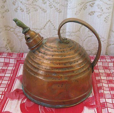 Antique Primitive Copper Tea Kettle Whistling Bird Teapot Bee Hive Design Vintage Copper Pots Tea Pots Vintage Tea Pots