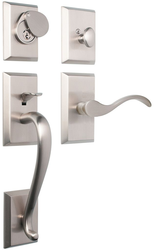 Rockwell Savoy Entry Door Handle Set In Brushed Nickel Finish Solid Brass  Drop Forged Construction