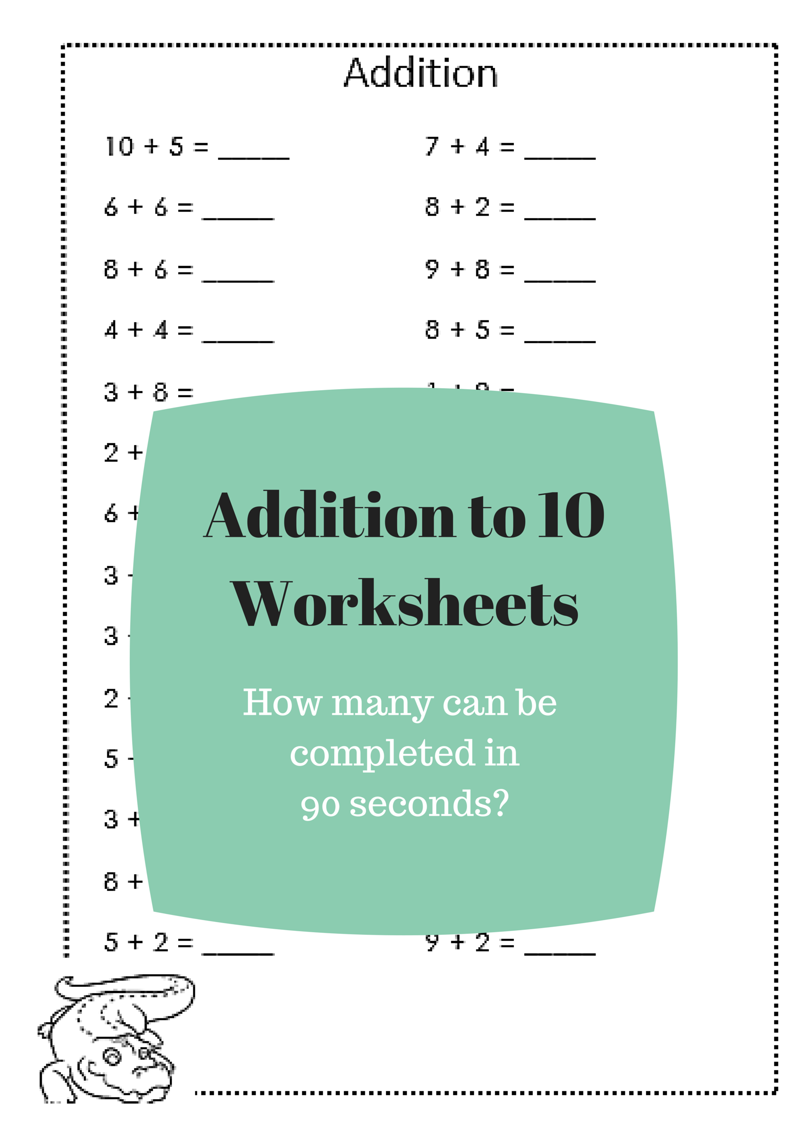 Addition to 10 Worksheets free printables | Mathematics | Pinterest ...