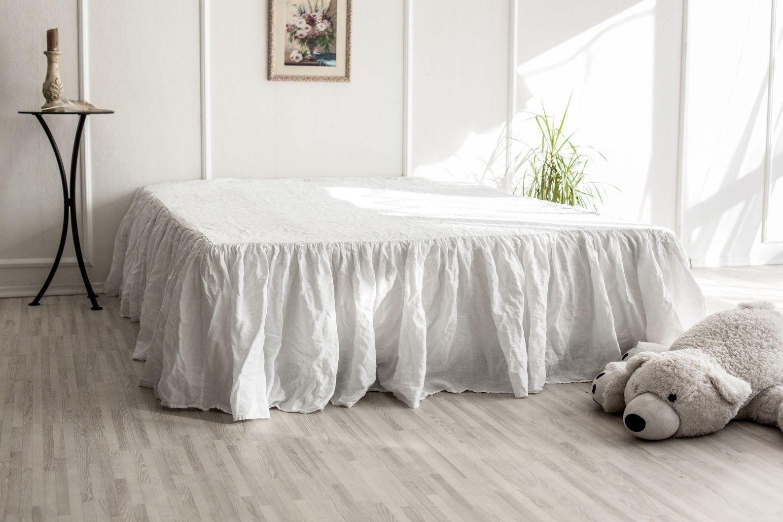 Linen Dust Ruffle Bed Skirt European Flax Natural linen