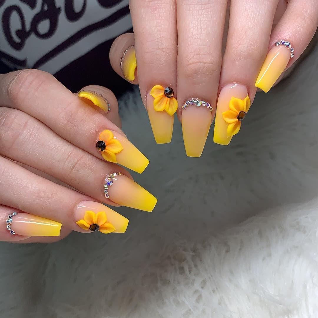 Springnails Nailsonfleek Nails2inspire Swarovskinails Yellownails Sunflowernails Color Lemon And Lady Peta Sunflower Nails Yellow Nail Art Yellow Nails