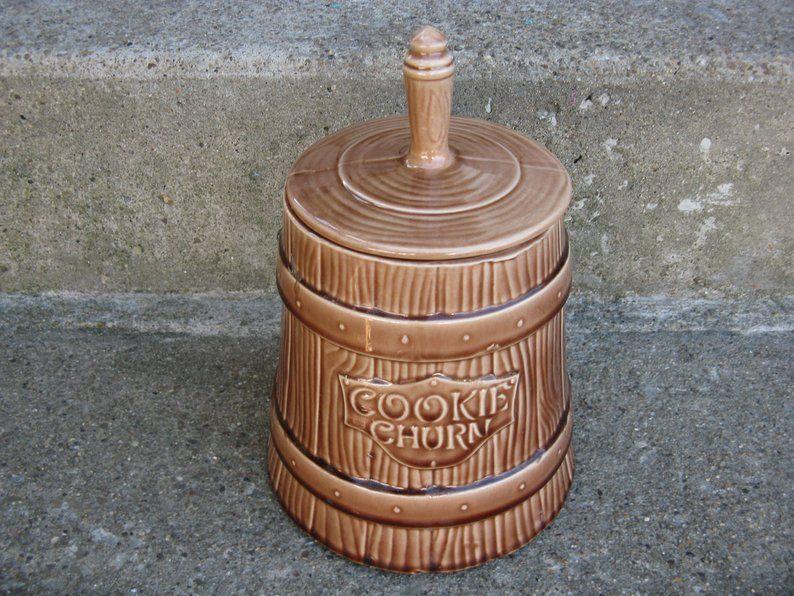 Mccoy cookie churn cookie jar rustic country farmhouse
