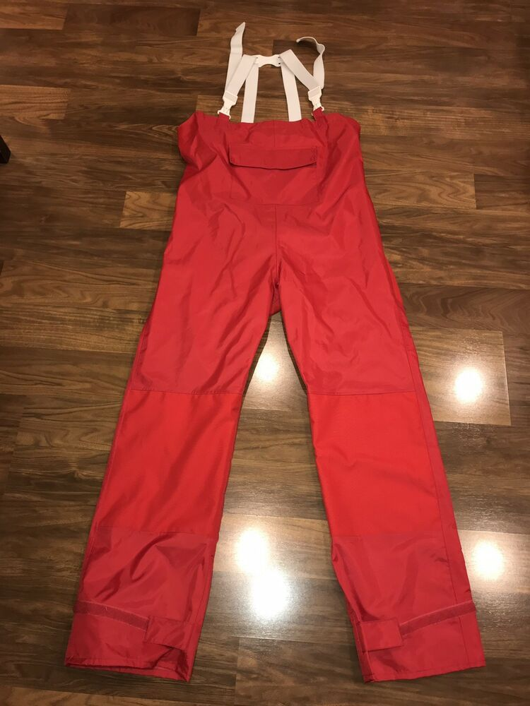 8c5f30fb1f1f8 Red WEST MARINE Mens Afterguard Bib Foul Weather Coverall pants Overalls  SMALL