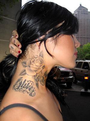 Kat Von D Rose Tattoo Google Search Neck Tattoos Women Neck Tattoo Side Neck Tattoo