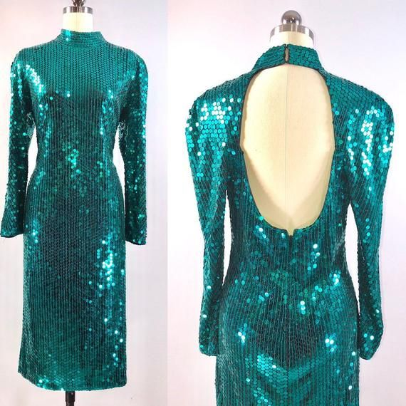 a9915836a6 SALE - 80s Party dress Oleg Cassini Vintage 1980s Cocktail Dress green  sequin 38 40 bust High Neck L