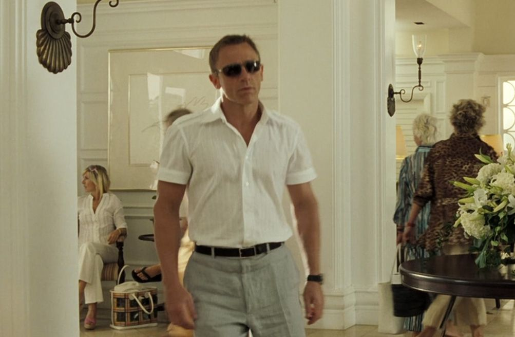 Grey Linen Trousers White Shirt Casino Royale James Bond