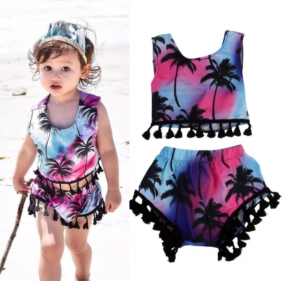 1aa6b2bb7a91f Rainbow 2Pcs Set Toddler Kids Baby Girls 2017 New Summer Print Coconut Tree  Clothes Floral Tassel