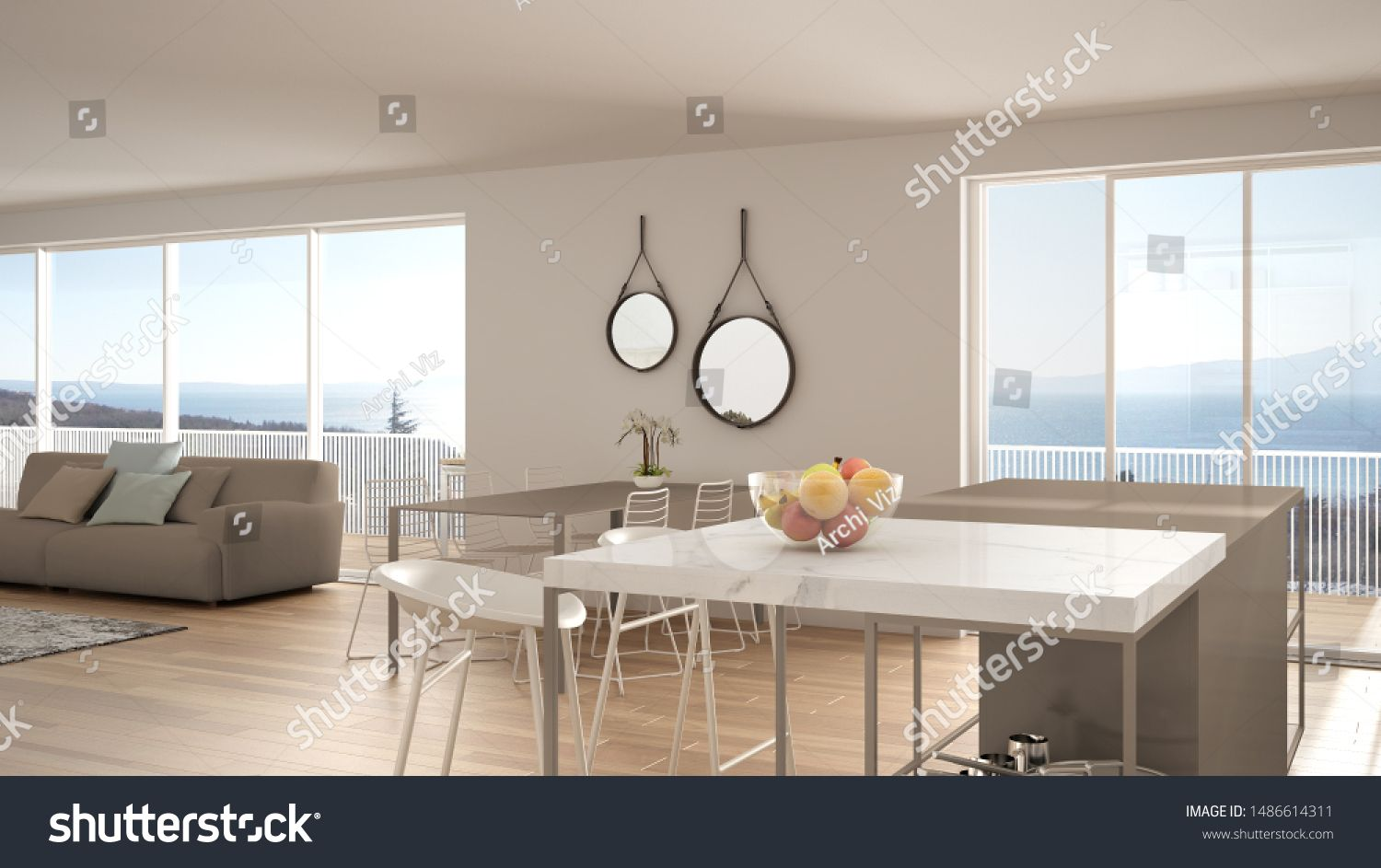 Penthouse Minimalist Kitchen Interior Design Lounge With Sofa And