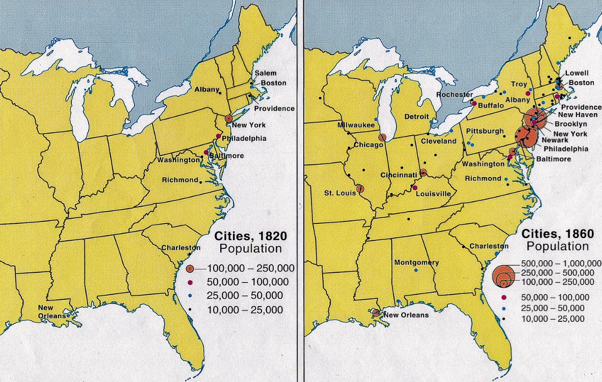 1820 1860 Growth Of American Cities 1820 1860 Antebellum