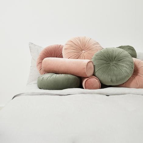 Sabine Velvet Bolster Pillow Rosewater Pillows Round Pillow Throw Pillows