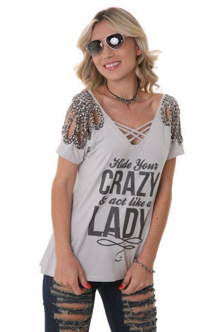 31486e9d3a Blusa M C Bordado Crazy Prata