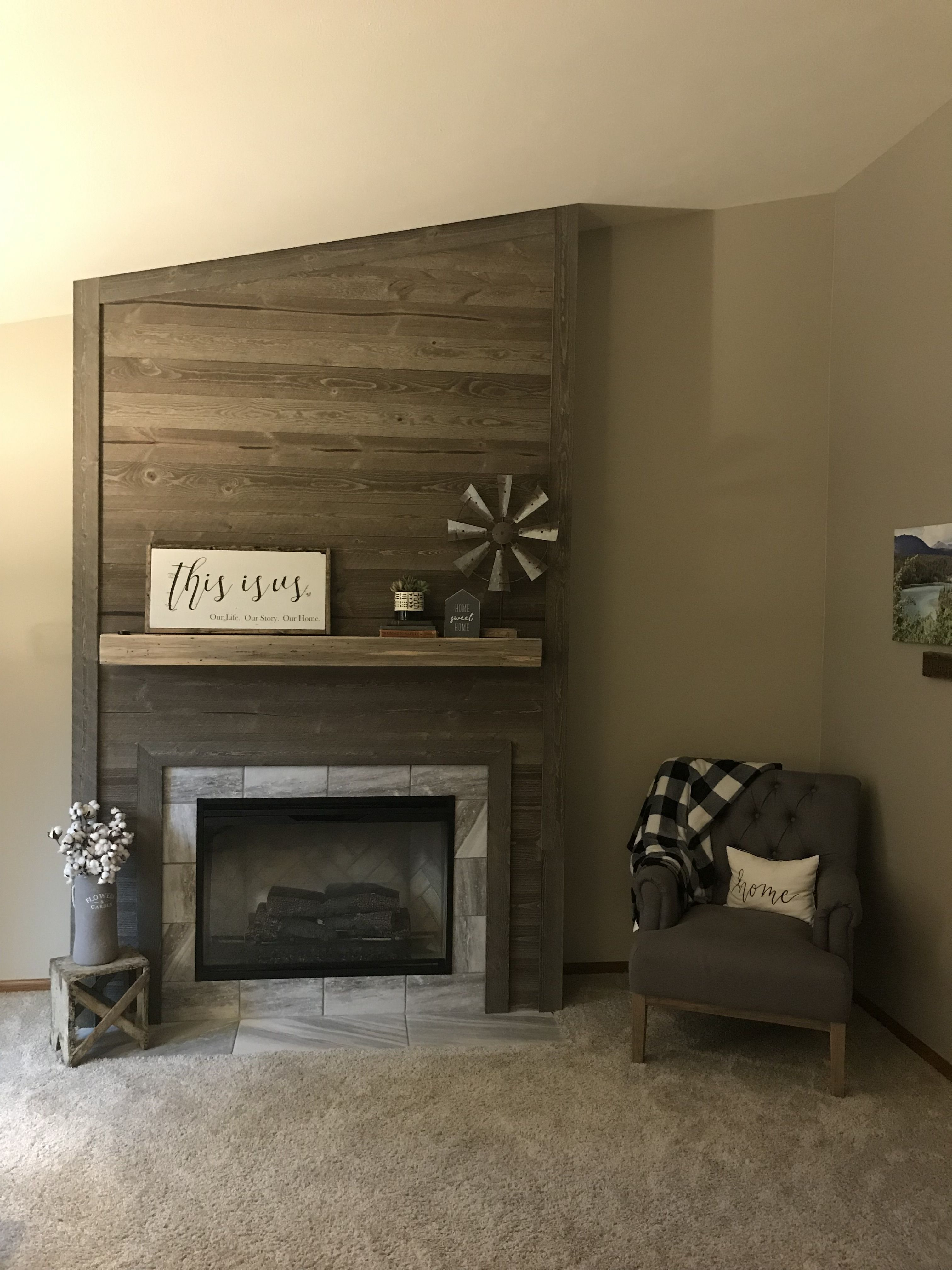 Wood Fireplace Built Using Tongue And Groove Wood From Home Depot Mantle Was Made With Tongue And Groove Reclaimed Bee Wood Fireplace Fireplace Country Decor