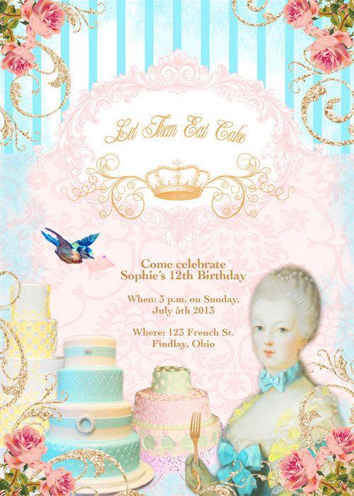 Marie Antoinette Printable Birthday card or Invitation DIGITAL Let Them Eat Cake | Marie Antoinette party | Marie Antoinette, Bridal invitations, Birthday