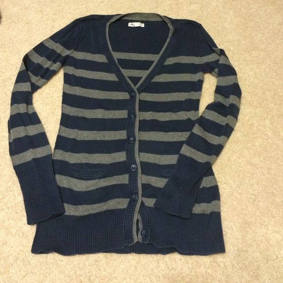 Aéropostale cardigan Blue and gray striped, button up cardigan. Excellent condition!! Aeropostale Sweaters Cardigans