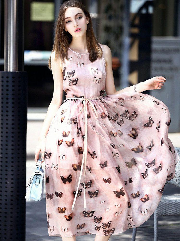 Chiifon Long Dress With All Over Butterflies Pattermed
