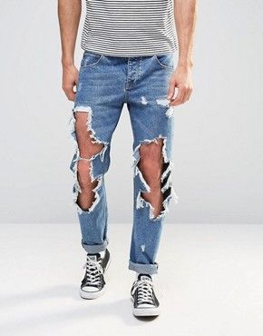 Mens skinny jeans with open rips
