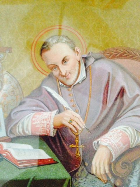 19th C. Saint Alphonse Marie De Liguori in Original Painted Wood Frame French Inscribed 1696-1787 by avintagesanctuary on Etsy https://www.etsy.com/listing/232865774/19th-c-saint-alphonse-marie-de-liguori