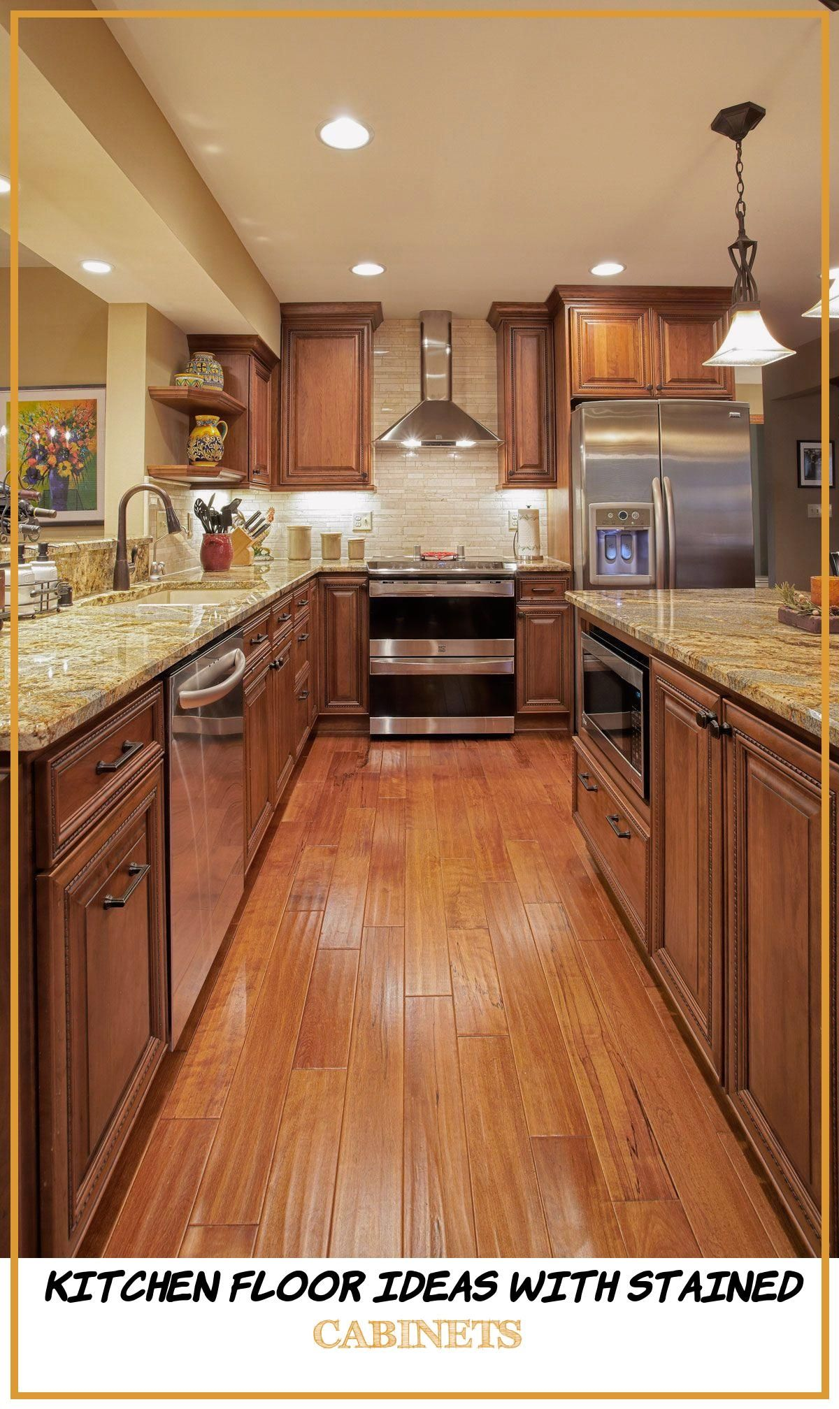 12 Kitchen Floor Ideas with Stained Cabinets in 2020 ...